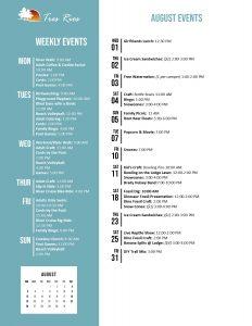 Tres Rios August 2018 Activity Calendar